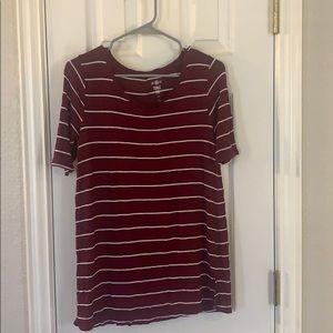 Burgundy striped tunic tee